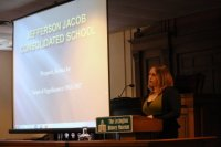 Annelise Gray discusses the Jefferson Jacob School.  (Photo by Rachel Alexander, University of Kentucky.)