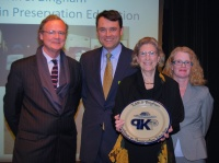 Edie Bingham is receives the Preservation Kentucky Award for Excellence in Preservation Education.  Pictured from left to right are David Mohney, Daniel Vivian, Edie Bingham, and Preservation Kentucky Executive Director Rachel Kennedy.   Photo by Becky Gorman.